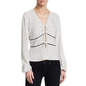 Scripted Tie Front Polka Dot Blouse